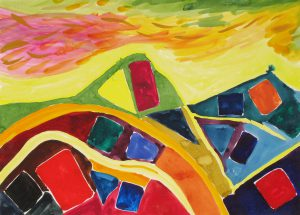watercolor on paper entitled Cool Winds by Linda Hains