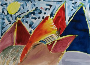 watercolor on paper entitled Orange Mountain by Linda Hains