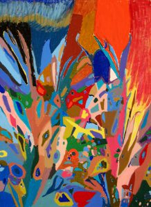 oil pastel on paper entitled Palm Friday by Linda Hains