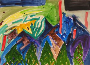 watercolor on paper entitled Pine Trees by Linda Hains