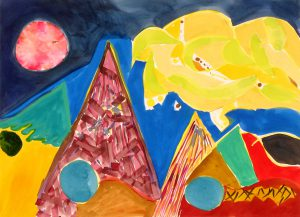 watercolor on paper entitled Red Moon by Linda Hains