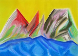 pastel on paper entitled Red Mountain Yellow Sky, by Linda Hains