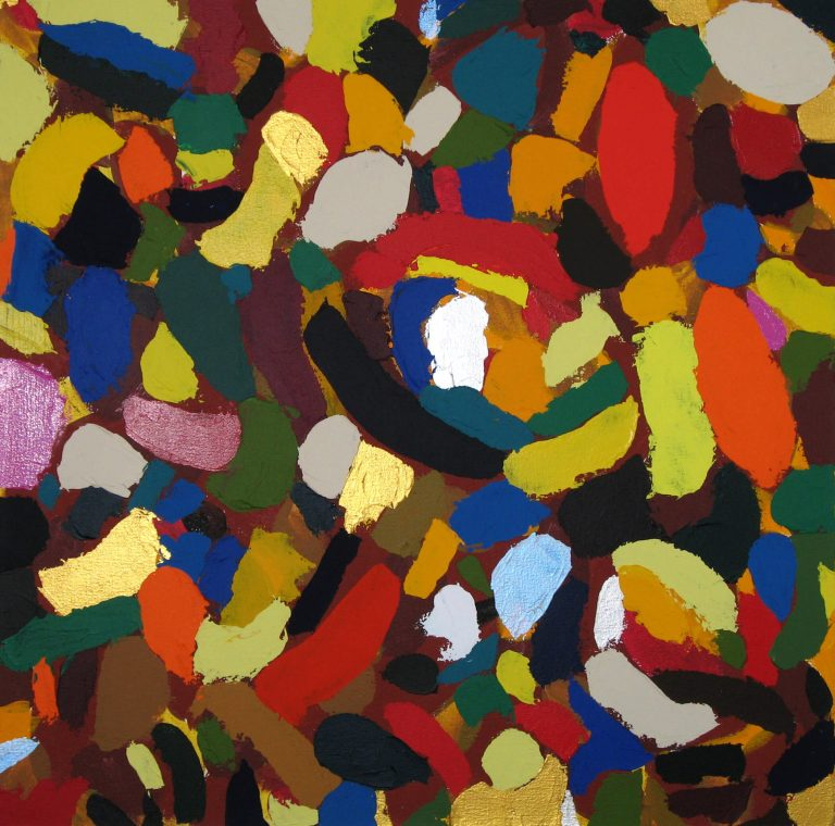 Abstract Painting, acrylic on canvas, 27 x 27 inches, by Linda Hains