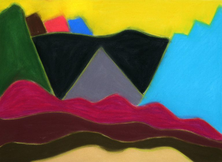 Red and Black Mountain, Yellow Sky, pastel on paper, 22 x 30 inches, by Linda Hains