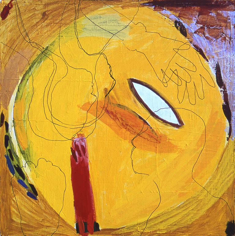 Yellow Circle, acrylic on canvas, 27 x 27 inches, by Linda Hains