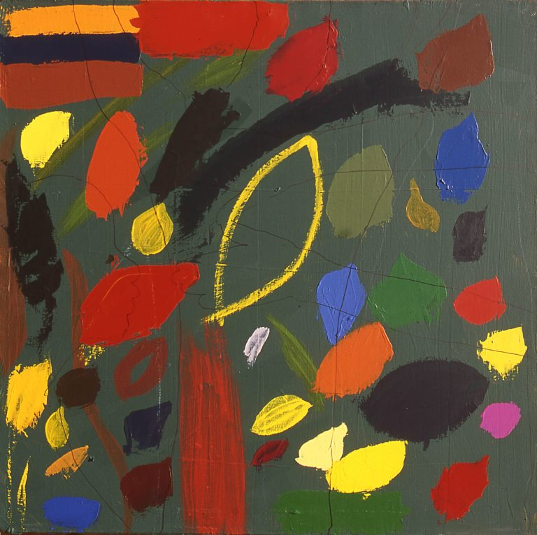 Yellow Oval, acrylic on canvas, 27 x 27 inches, by Linda Hains